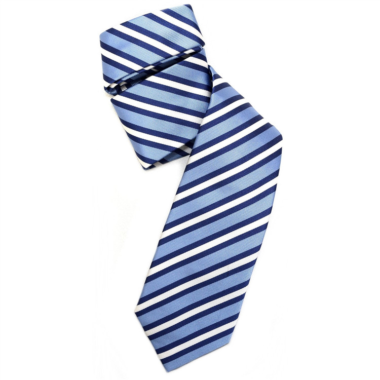 Blue, Navy, and White Silk Faille Repp Tie by Robert Jensen