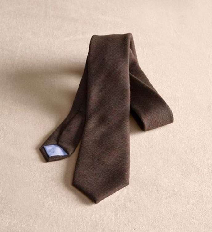 Brown and Blue Houndstooth Wool Necktie (Thomas Kay Collection) by Pendleton