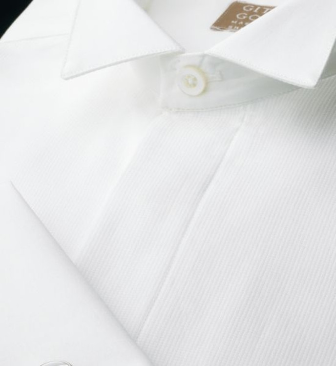 White Pique Bib Formal Tuxedo Shirt with Wing Collar (Size 15 1/2 - 36) by Gitman Brothers