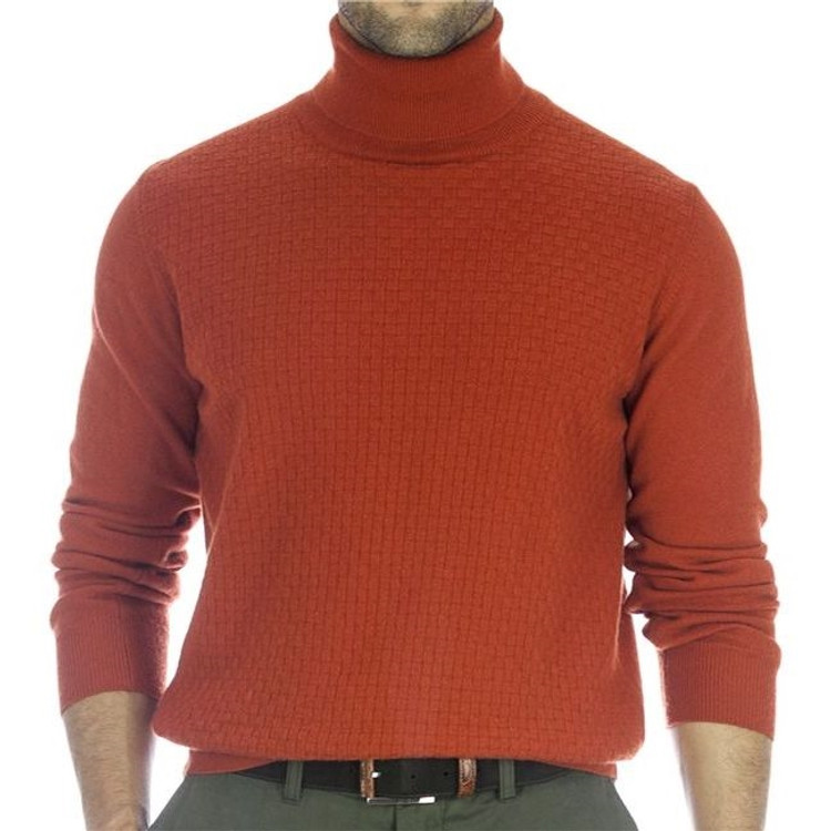 'Moore' Jacquard Front Turtleneck Sweater in Burnt Orange (Size X-Large) by Robert Talbott