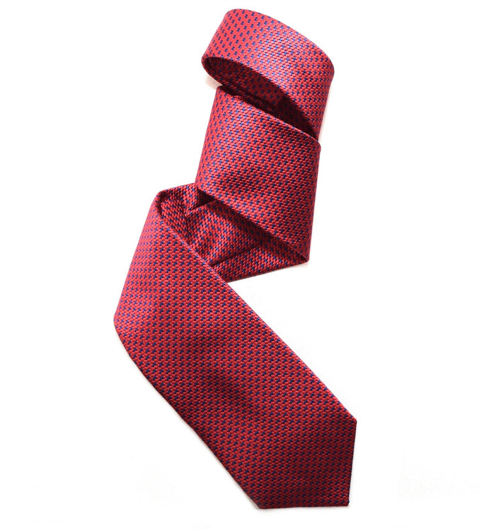 Bright Red and Blue Mogador Houndstooth Woven Silk Tie by Robert Jensen