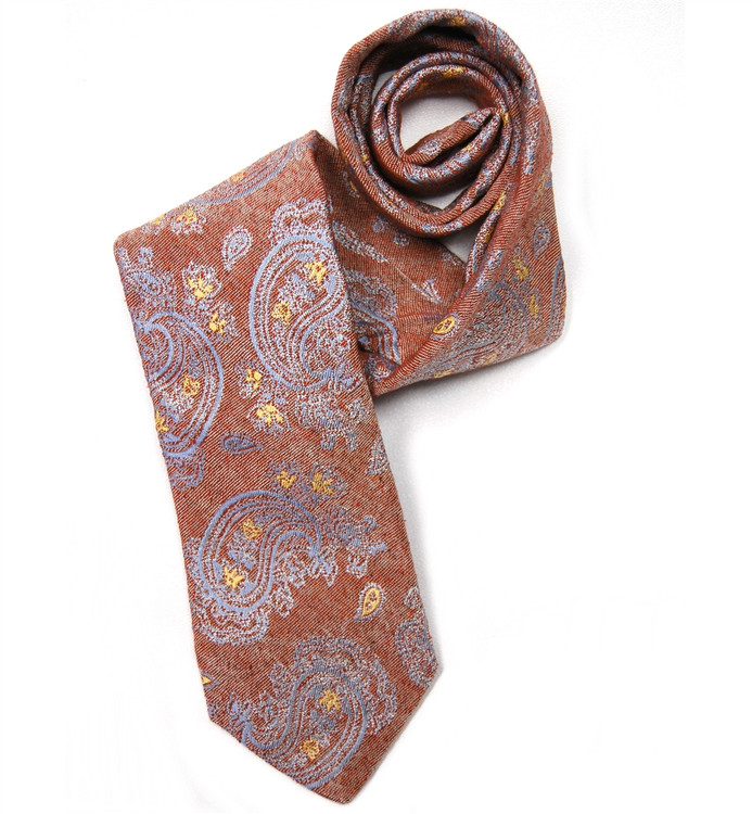 Best of Class Red and Blue Paisley Matte Finish Raw Silk Tie by Robert Talbott