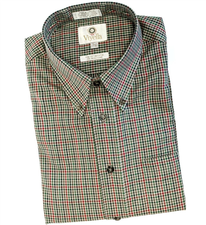 Beige, Red, and Green Plaid Shirt by Viyella