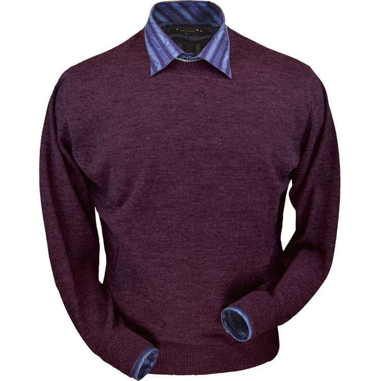 Royal Alpaca Crew Neck Sweater in Plum Heather by Peru Unlimited