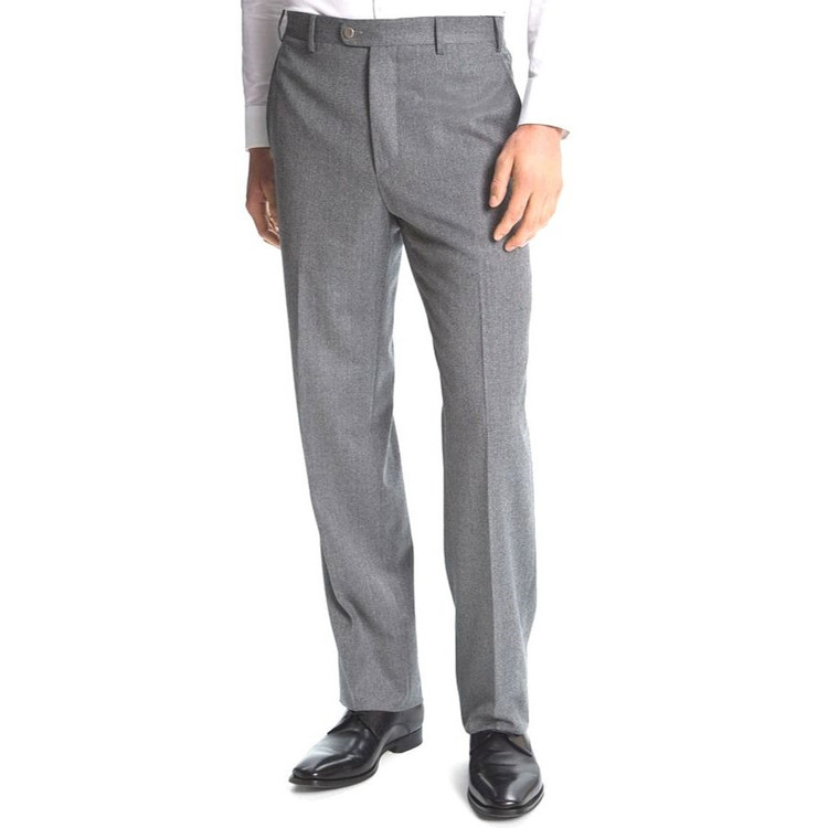 'Todd' Flat Front Wool Flannel Pant in Light Grey by Zanella