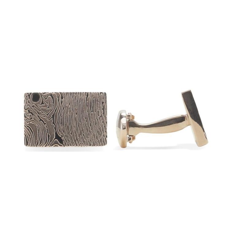 'Woodgrain' Silver Cufflinks in Bark by Robert Talbott