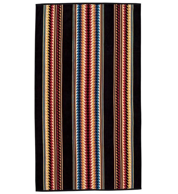 Suwanee Stripe Spa Towel in Black by Pendleton