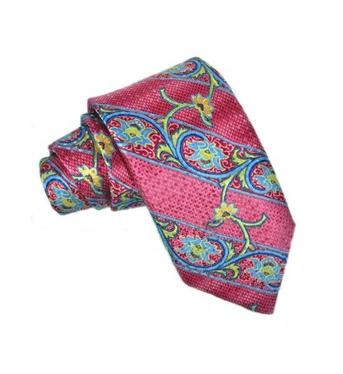 Best of Class Printed Paisley Stripe Jacquard Tie in Pink by Robert Talbott