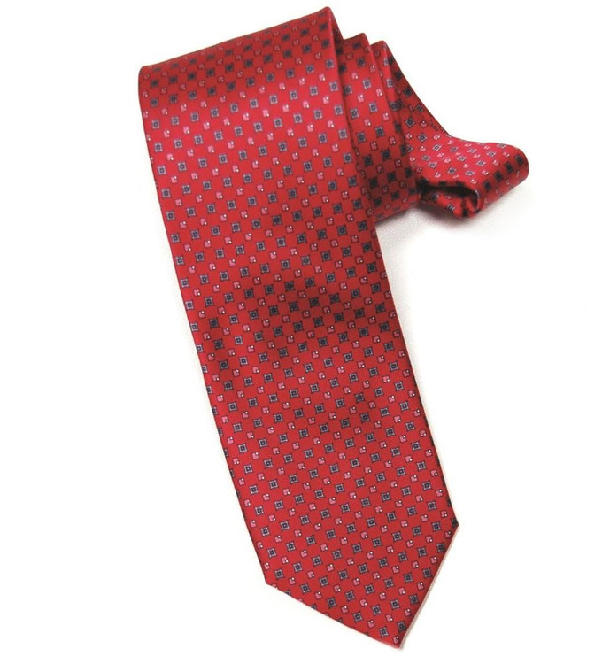 'Chic' Printed Silk Tie in Red by RVR Neckwear