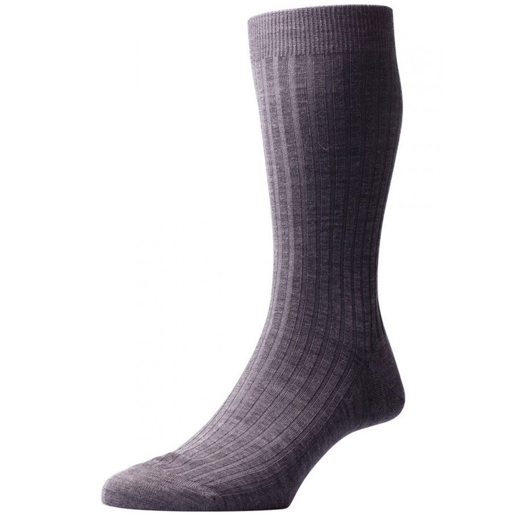 Laburnum - 5x3 Rib Merino Wool Sock in Dark Grey Mix (3 Pair) by Pantherella