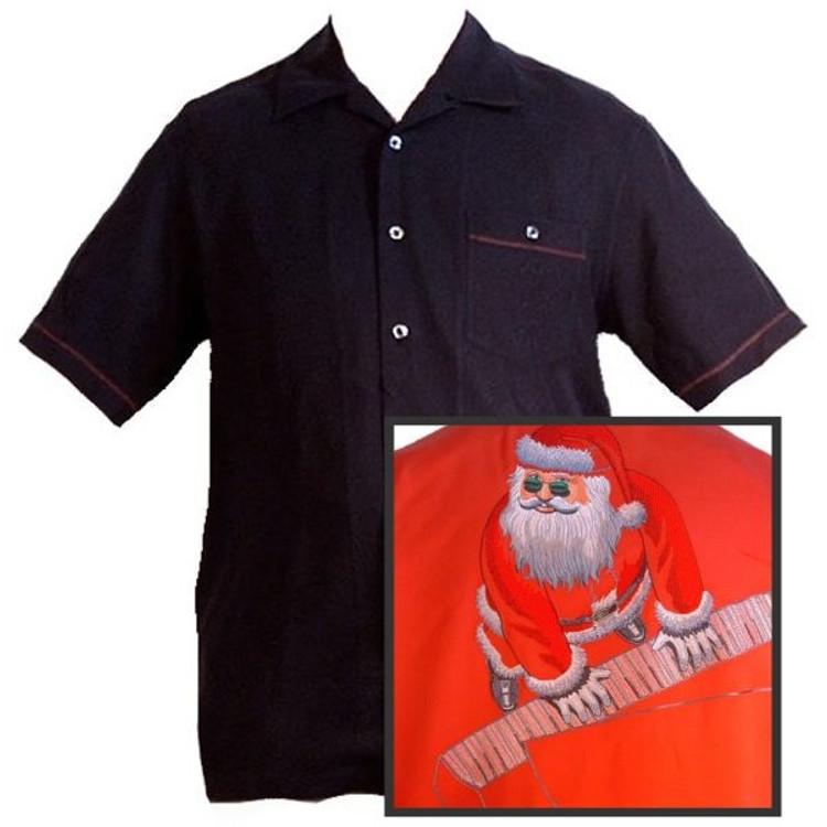 'Hitting the Keys' Christmas Silk Resort Shirt (Size Medium) by Tori Richard