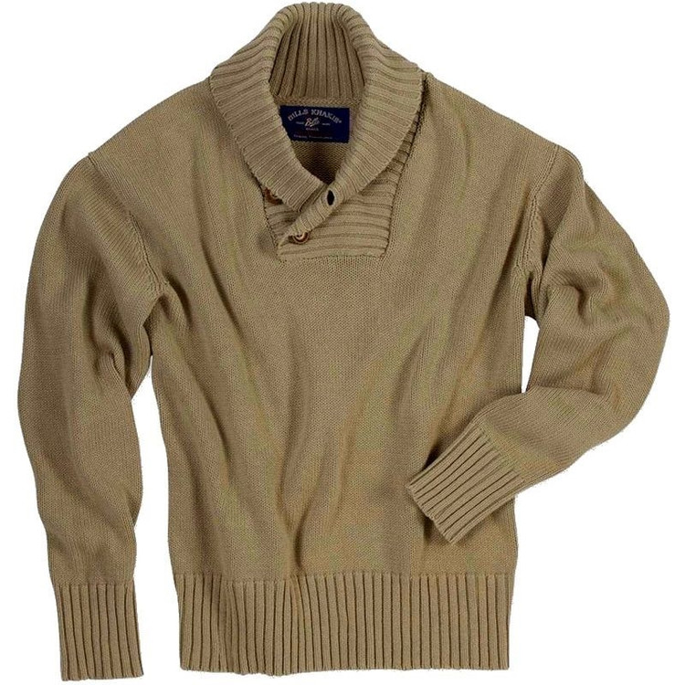 Appalachian Shawl Neck Sweater in Khaki (Size Large) by Bills Khakis
