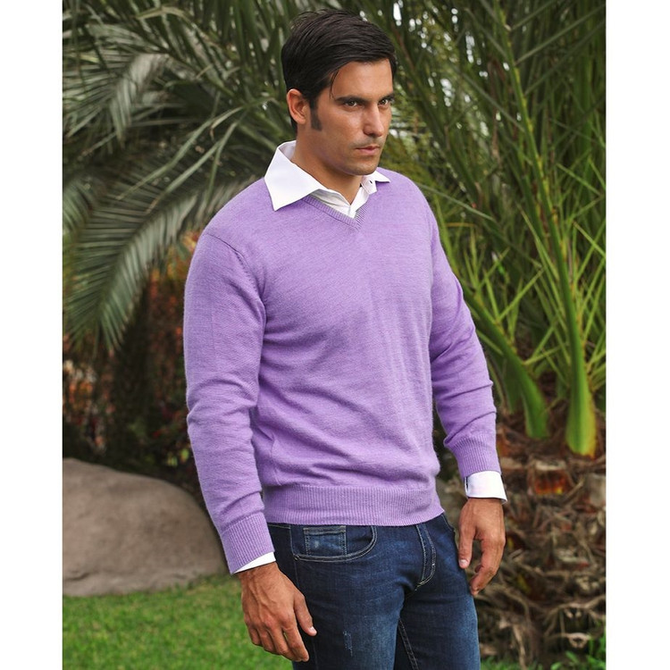 Royal Alpaca V-Neck Sweater in Lilac Heather by Peru Unlimited
