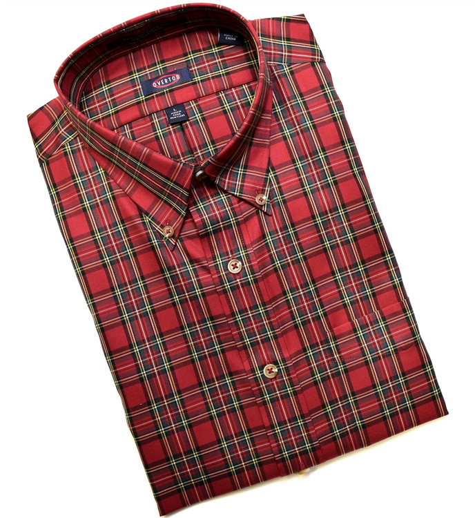 Red and Green Tartan Button-Down Wrinkle Free Sport Shirt by Overton