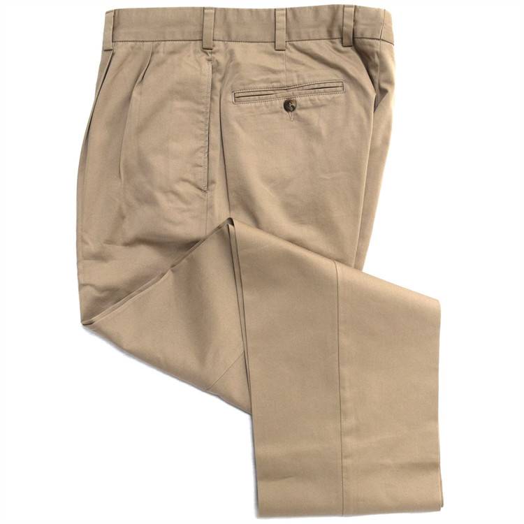 Chamois Cloth Pant - Model F2P Standard Fit Reverse Pleat in British Tan by Hansen's Khakis