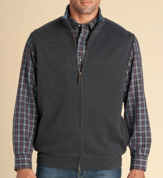 Full Zip French Rib Vest in Charcoal (Size Medium) by Pendleton