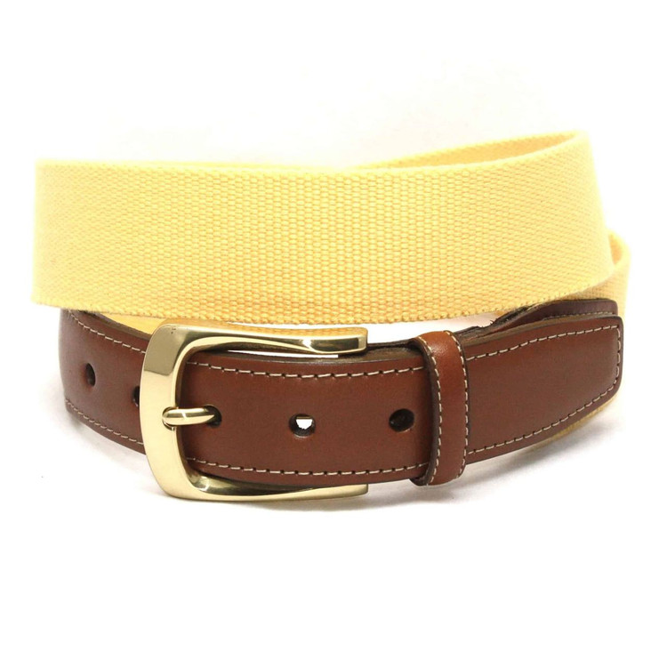 European Ribbed Surcingle Belt in Yellow by Torino Leather Co.