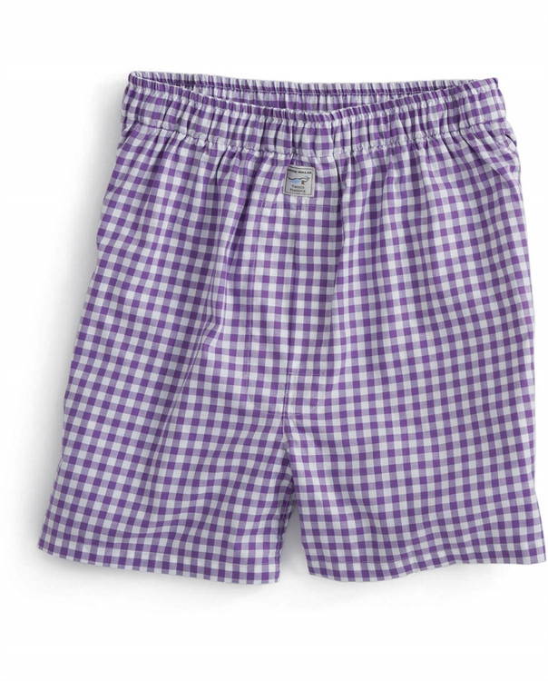 Twill Check Cotton Boxer in Purple by Peter Millar