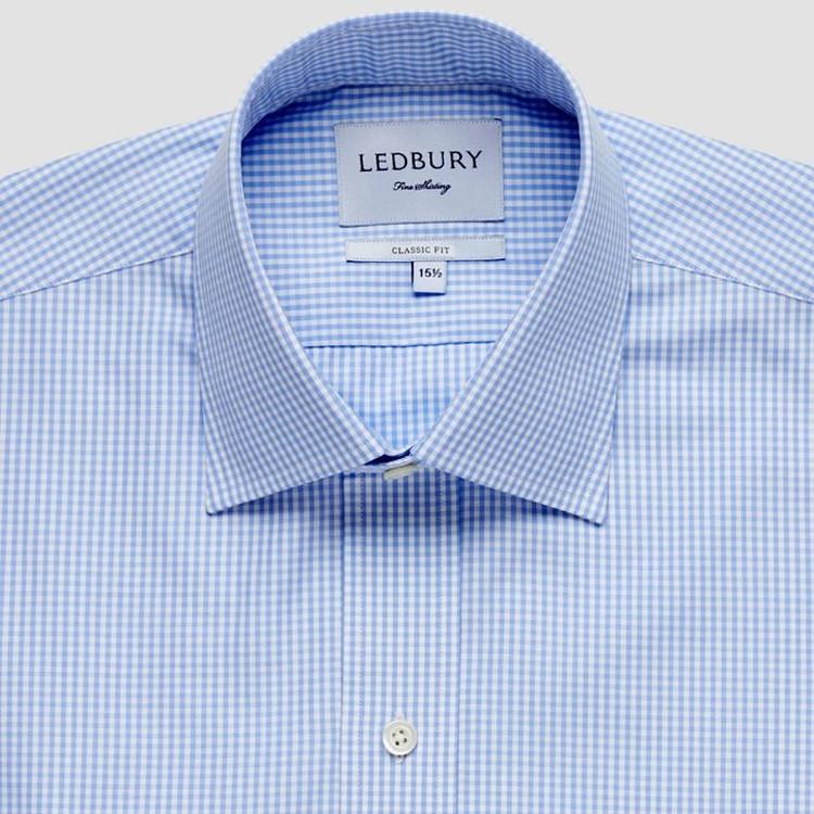 The Blue Gingham Poplin Dress Shirt by Ledbury