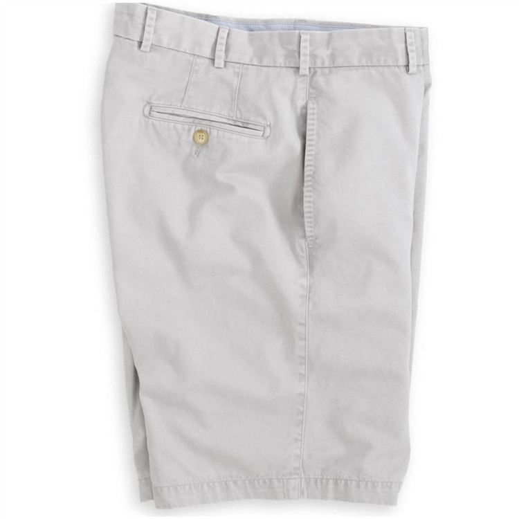 'Winston' Washed Twill Flat Front Short in Light Grey by Peter Millar