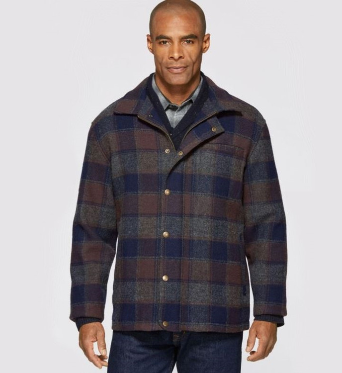 Navy, Grey, and Brown Plaid Timberline Jacket by Pendleton