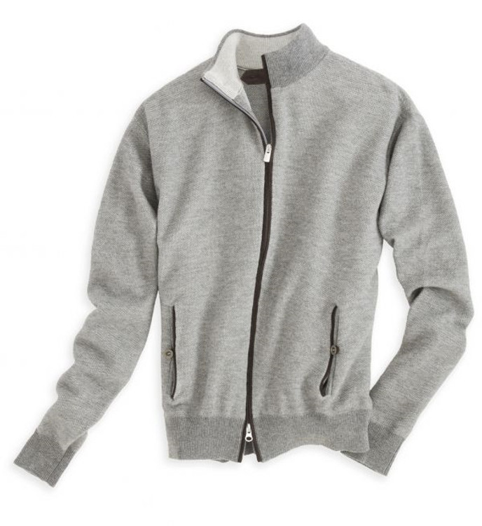 Wool and Cotton Full Zip Sweater Jacket in Vintage Grey (Size XX-Large) by Peter Millar