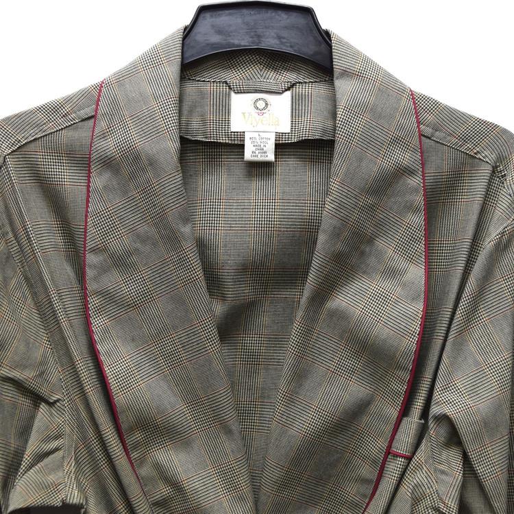 Gentleman's Genuine Cotton and Wool Blend Robe in Brown Glen Plaid by Viyella