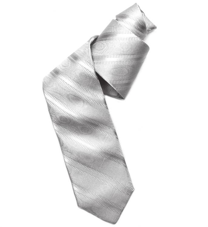 Silver Grey Stripe 'Robert Talbott Protocol' Hand Sewn Woven Silk Tie by Robert Talbott