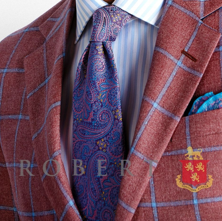 Purple and Pink Floral Paisley 'Connoisseur' Silk Estate Tie by Robert Talbott