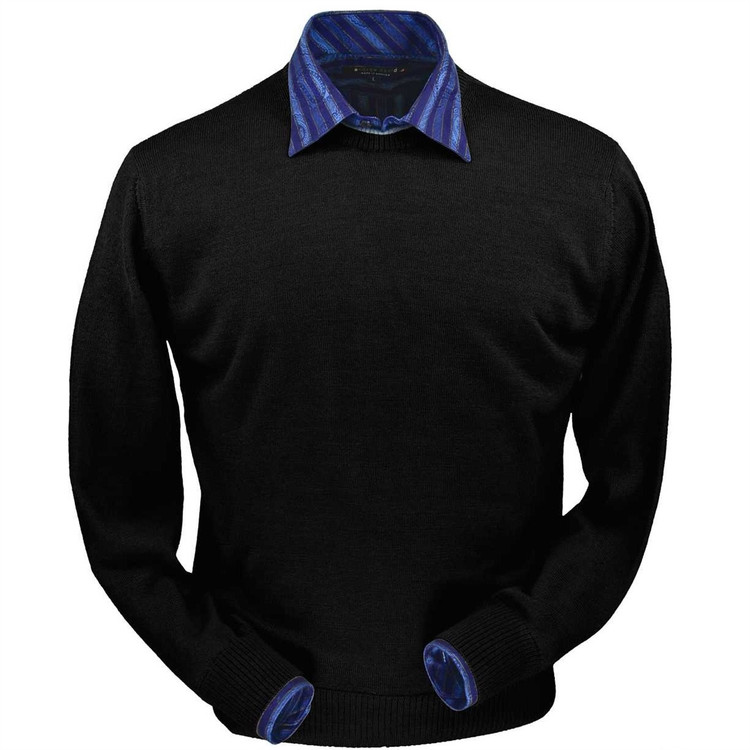 Royal Alpaca Crew Neck Sweater in Black by Peru Unlimited