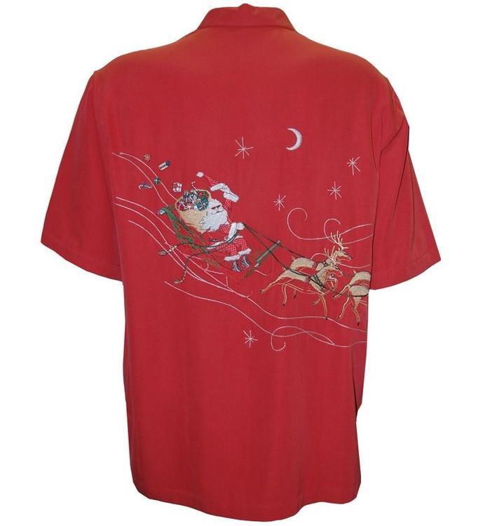 'Night Rider' Christmas Embroidered Silk Resort Shirt by Tori Richard