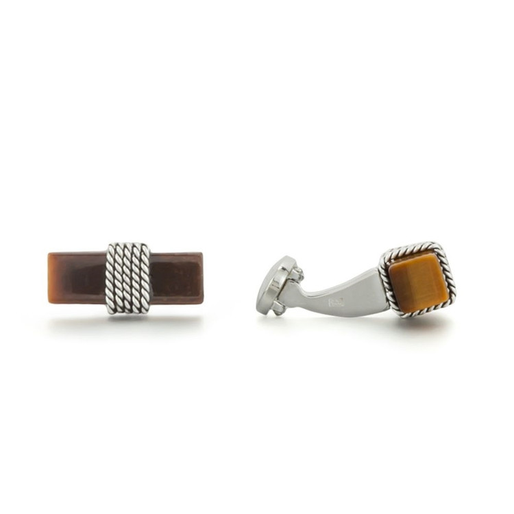 Tiger's Eye Sterling Silver Cufflinks by Robert Talbott
