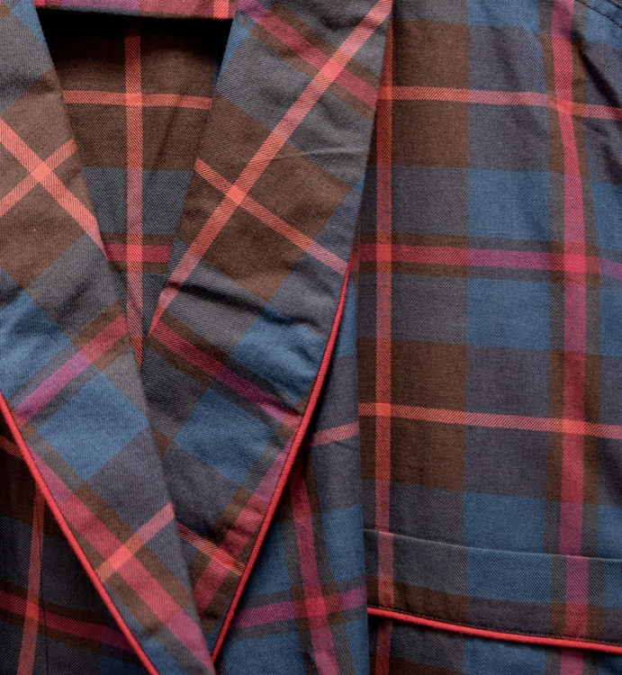 Gentleman's Genuine Cotton and Wool Blend Robe in Brown & Red Plaid by Viyella