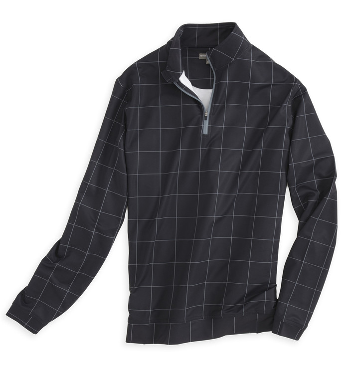 'Perth' E4 Performance Pullover in Black Windowpane (Size Large)by Peter Millar