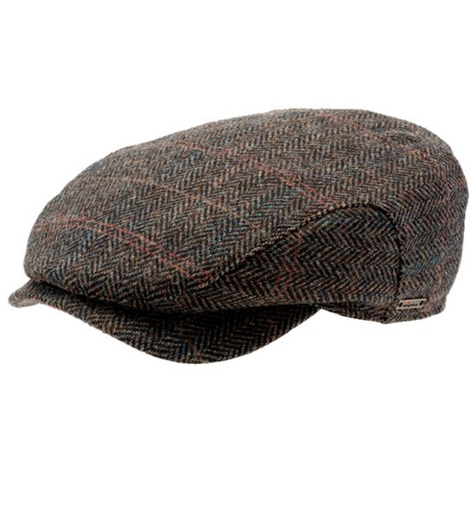 'Hans' Herringbone Plaid Harris Tweed Earflap Cap in Brown (Size 58 Only) by Wigens