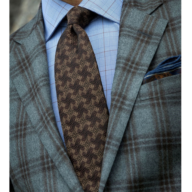 'Embossed Geometric' Woven Silk Estate Tie in Brown by Robert Talbott