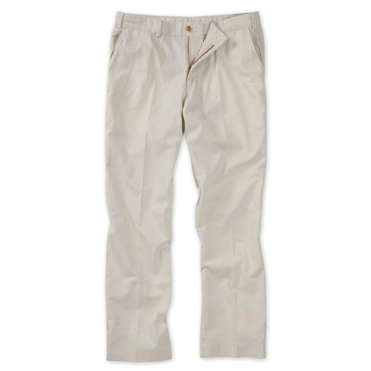 Lightweight Cotton Poplins - Model M3 Trim Fit Plain Front in Stone by Bills Khakis