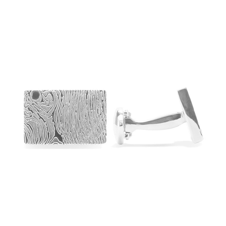 'Woodgrain' Sterling Silver Cufflinks by Robert Talbott