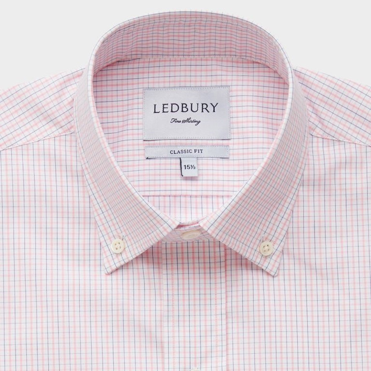 Pink and Blue Calder Check Dress Shirt by Ledbury