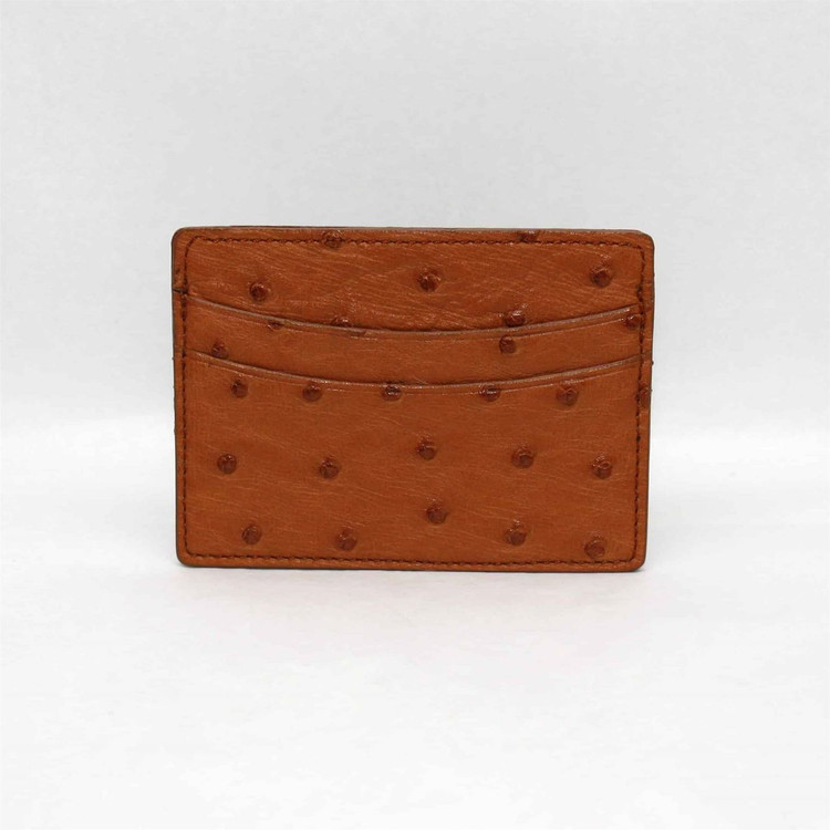 Genuine Ostrich Card Case in Saddle by Torino Leather Co.