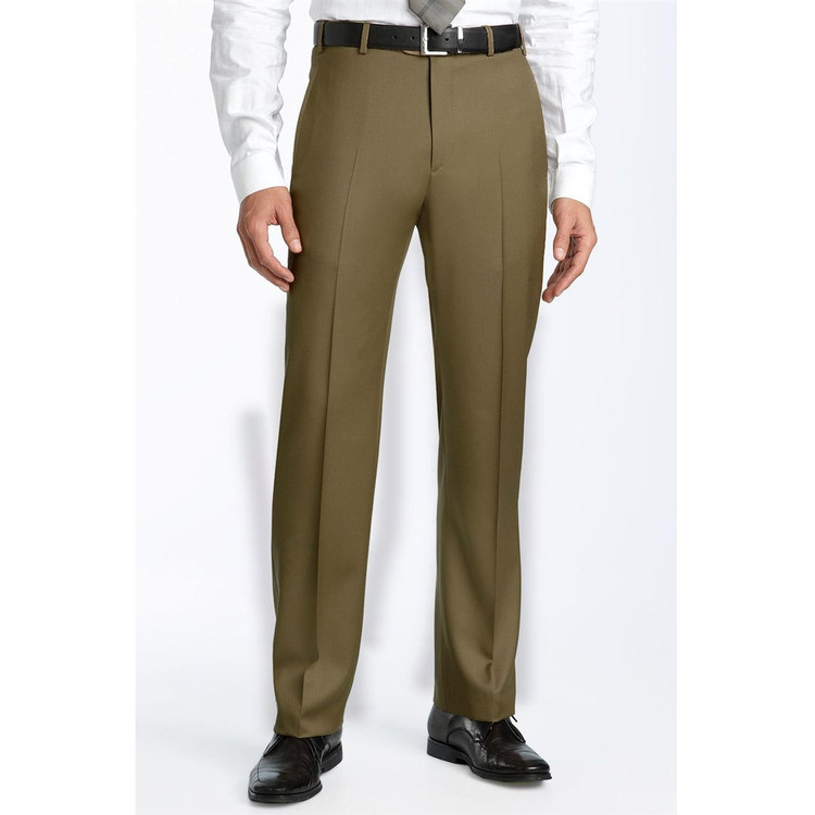 'Todd' 110's Wool Twill Flat Front Pant in Tan (Size 44) by Zanella