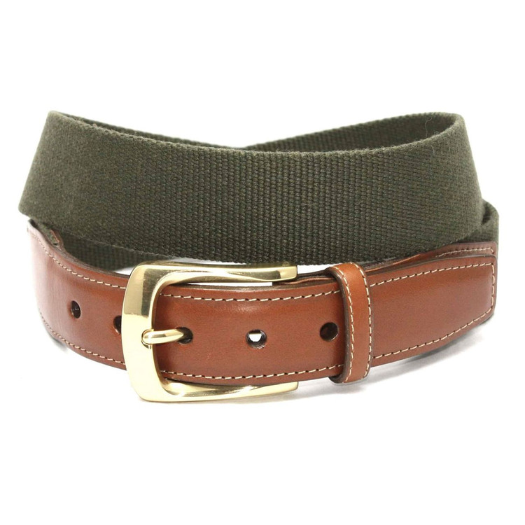 European Ribbed Surcingle Belt in Olive by Torino Leather Co.