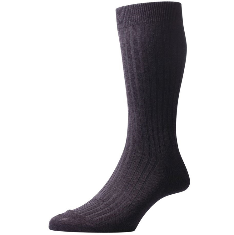 Danvers - 5x3 Rib Cotton Lisle Sock in Black (3 Pair) by Pantherella