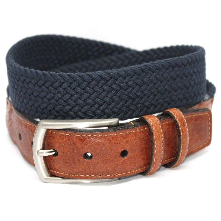 Italian Woven Cotton Elastic Belt in Navy (EXTENDED SIZES) by Torino Leather Co.