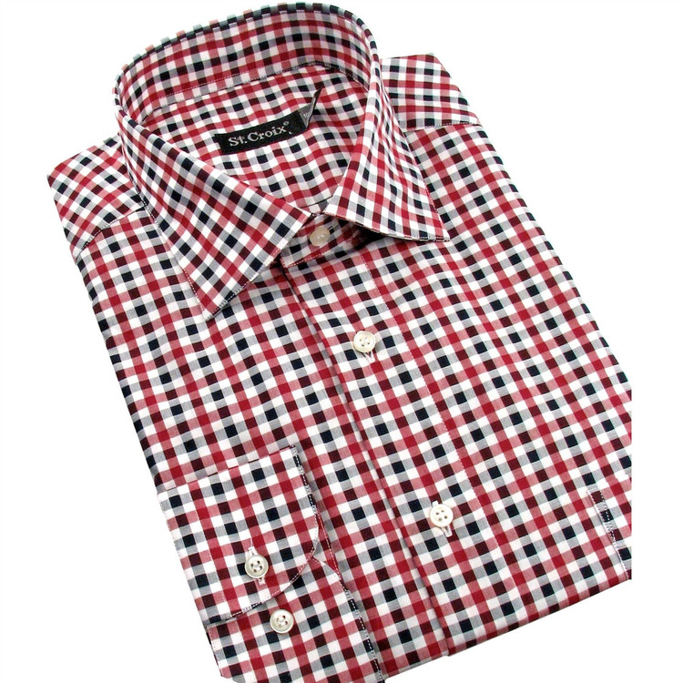 Rouge and White Check Sport Shirt by St. Croix