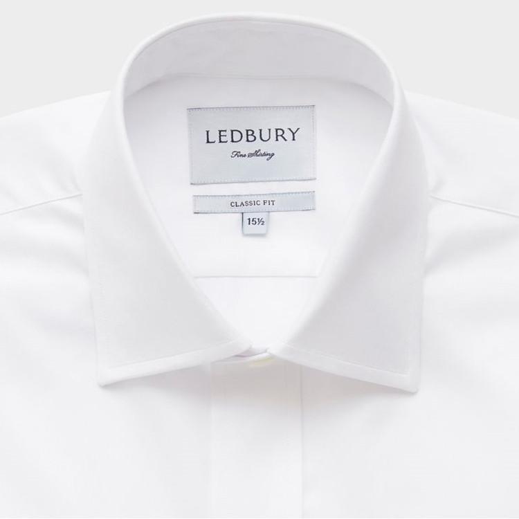 The White Fine Twill Mid-Spread Dress Shirt by Ledbury