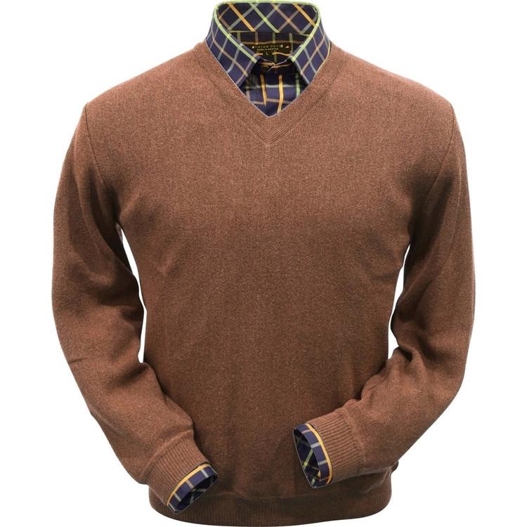 Baby Alpaca Link Stitch V-Neck Sweater in Camel by Peru Unlimited