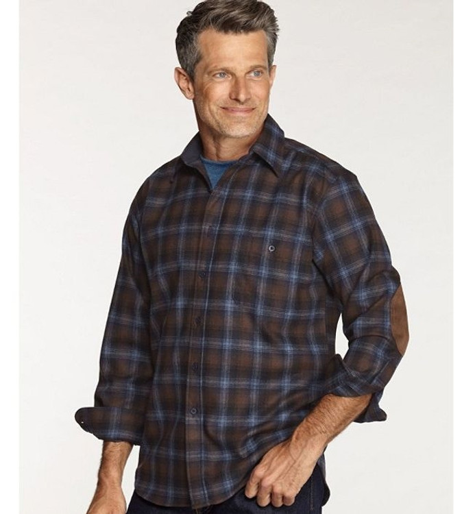Brown, Blue, and Navy Ombre Elbow-Patch Trail Shirt by Pendleton