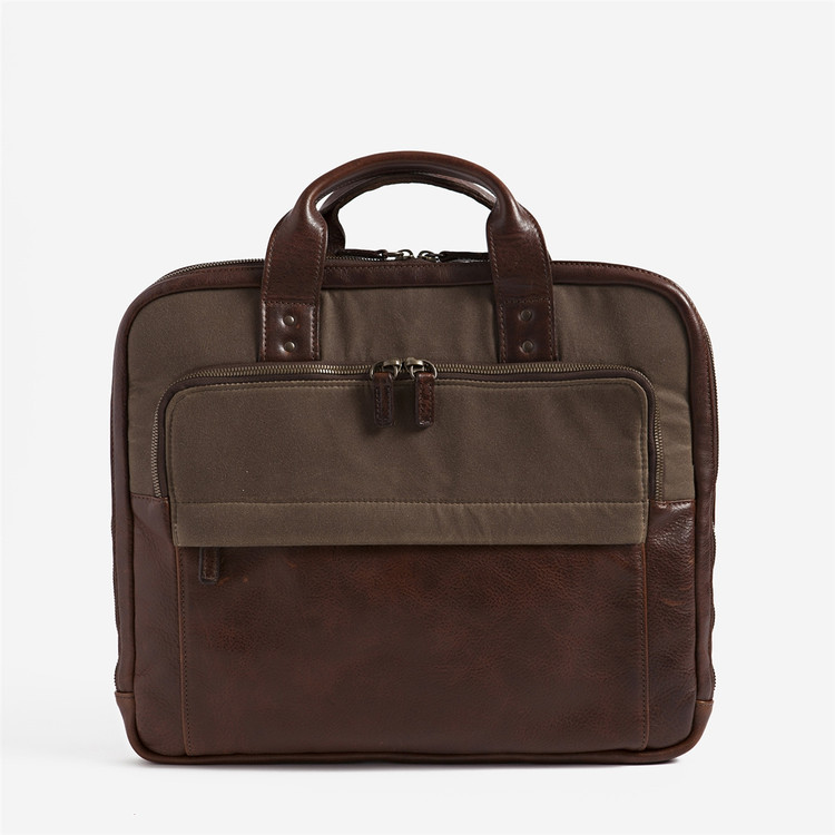 Jay Modern Briefcase in Waxwear Rangertan and Titan Milled Brown by Moore & Giles