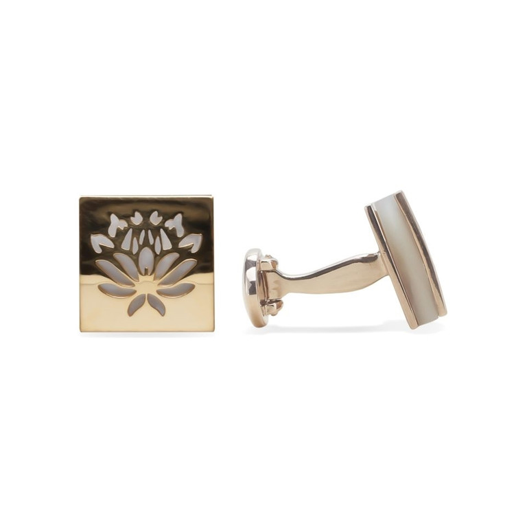 'Iceplant Flower' Mother of Pearl Gold Cufflinks by Robert Talbott